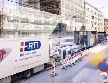Einzug des Liners für die Baustelle in Graz