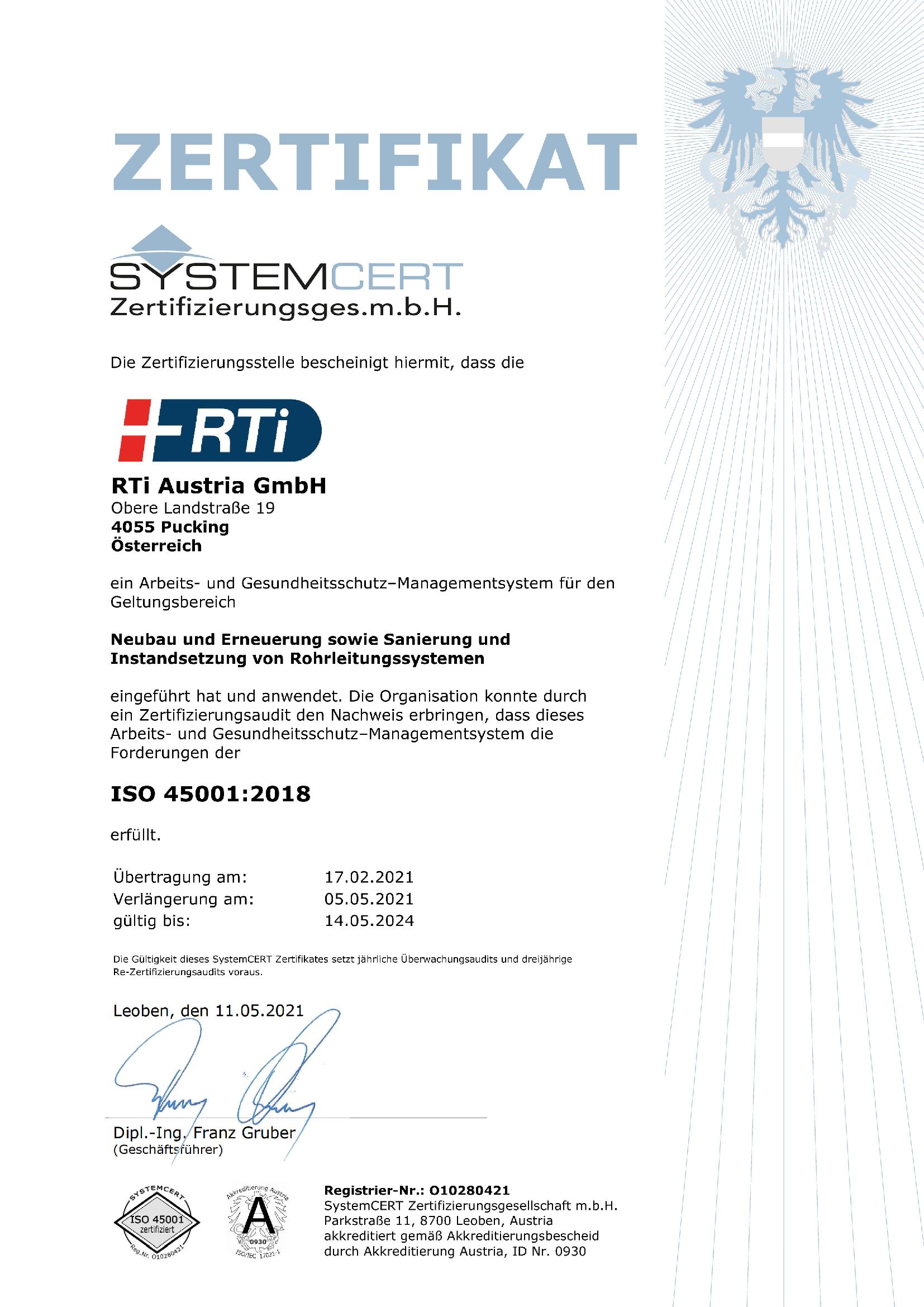 RTi Sicherheitsmanagement System ISO 45001 Zertifikat