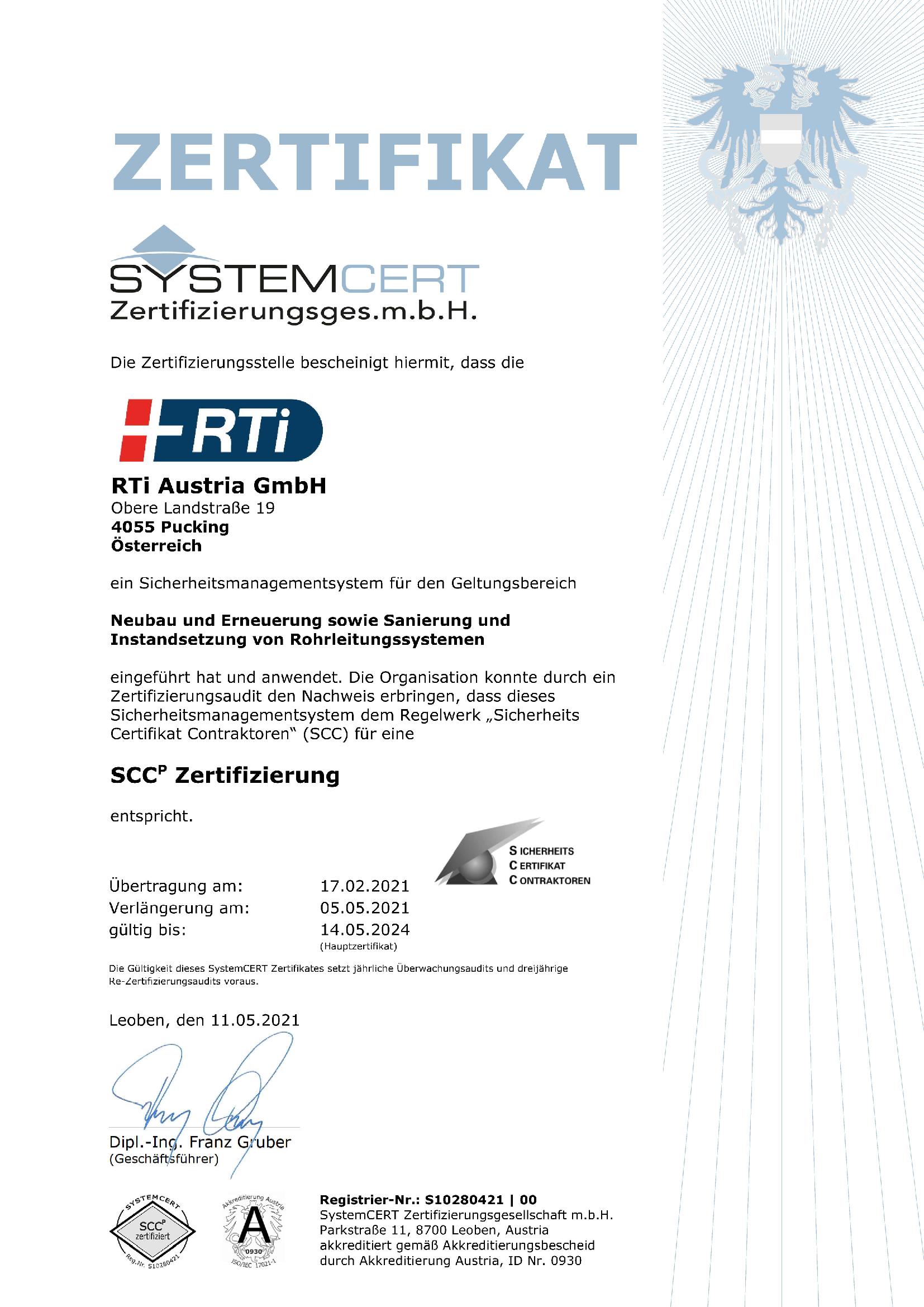 RTi Sicherheitsmanagement System SCCp Zertifikat