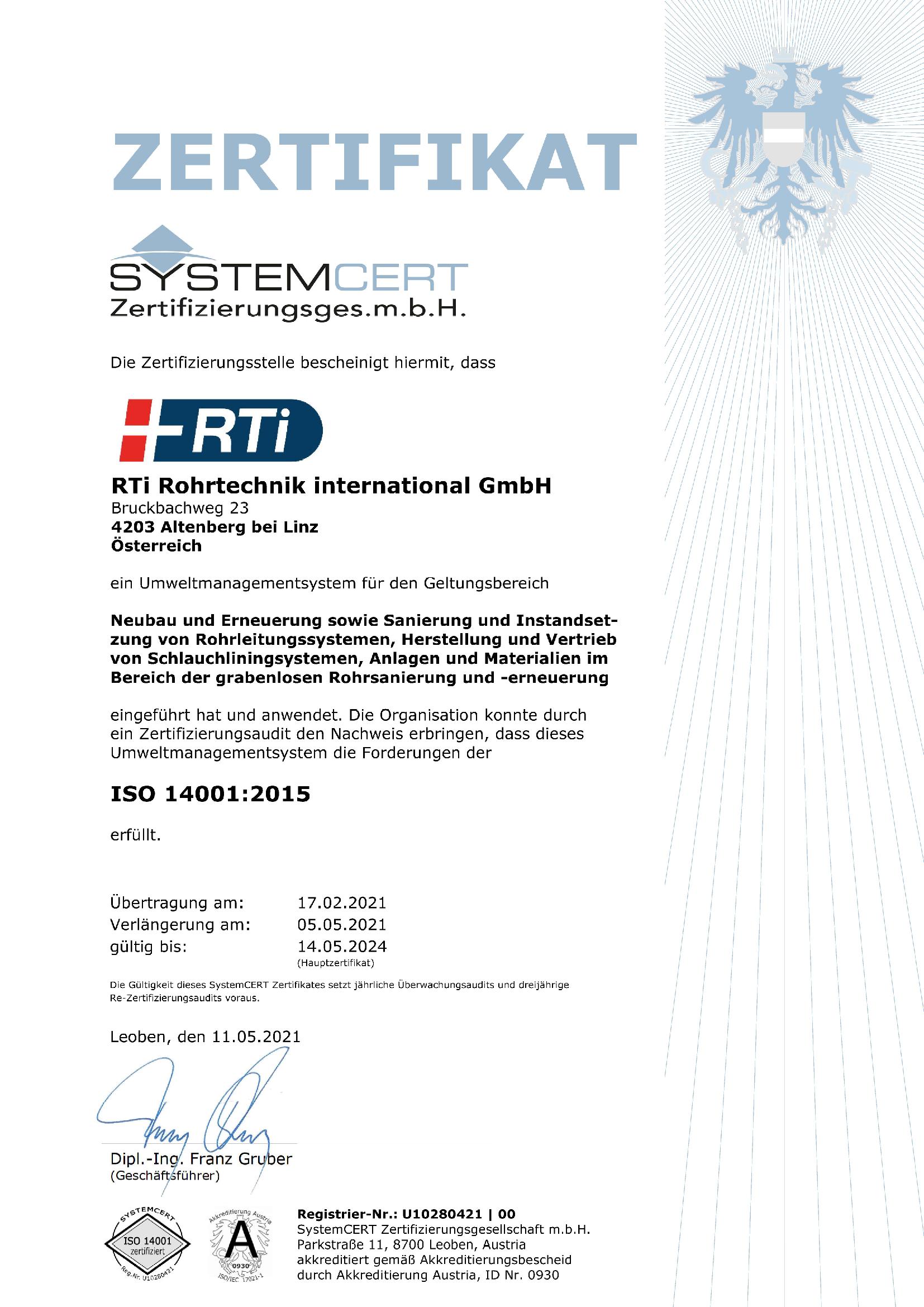 RTi Umweltmanagement System ISO 14001 Zertifikat